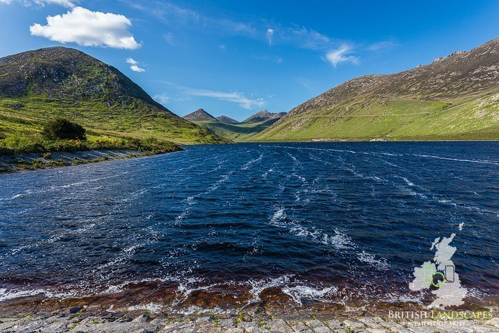 The view from the Silent Valley Dam to the Mournes.