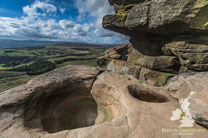 The view across the Hope Valley from Robin Hood's Cave on Stanage Edge in the Peak District